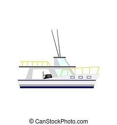 Nautical motor yacht isolated on white background. Vector illustration