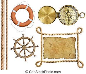 nautical objects rope, treasure map, lifebuoy, compass ...