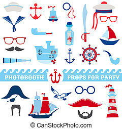 Nautical Party set - photobooth props - glasses, hats, ships, mustaches, masks - in vector