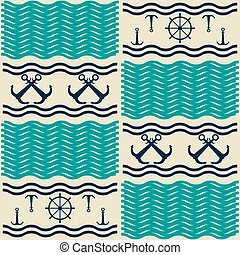 Nautical pattern with anchors and ship steering wheels