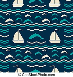 Nautical pattern with waves, dolphins and sailboats