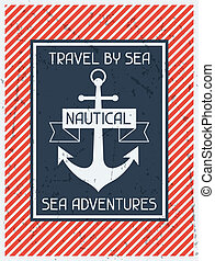 Nautical. Retro poster in flat design style.