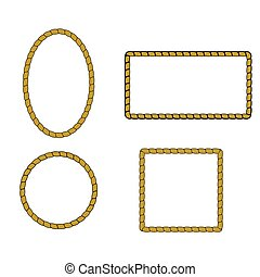 Nautical rope frame set. Rope border nautical frame, vector...