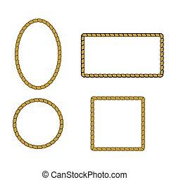 Nautical rope frame set. Rope border nautical frame, vector...