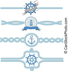 Nautical rope vector borders. Dividers vintage design frame illustration