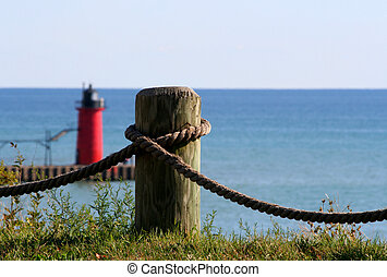 Nautical Scenic - Nautical background with wood piling and...