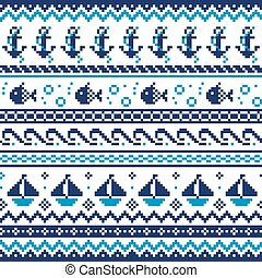 Nautical Scottish Fair Isle style traditional knitwear vector seamless pattern, sailing design with anchors, fish, and boats