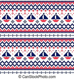 Nautical Scottish Fair Isle style traditional knitwear vector seamless pattern with boats in navy blue and red