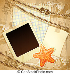Nautical scrapbook template - Vector illustration - vintage...