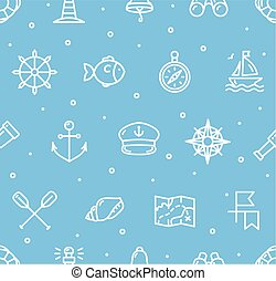 Nautical Sea Background Pattern. Vector