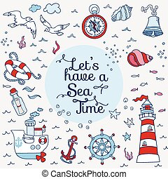 Nautical Sea Card - for scrapbook and design in vector