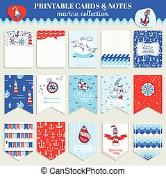 Nautical Sea Card Set - for scrapbook, wedding, party, design - in vector