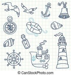 Nautical Sea Design Elements - for scrapbook and design in...
