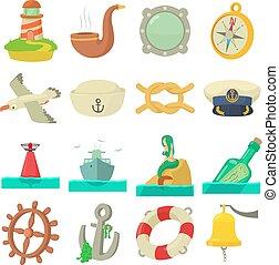 Nautical sea icons set, cartoon style - Nautical sea icons...