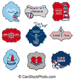 Nautical Sea Tag Elements - for scrapbook and design in...