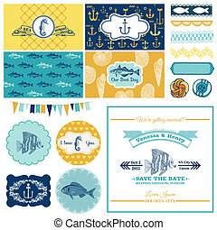 Nautical Sea Theme Set - for Party Decoration, Scrapbook, Wedding Design - in vector