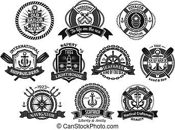 Nautical seafarer, marine sea sailor vector icons - Marine...