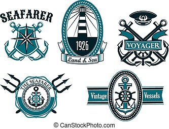 Nautical seafarer, voyager and anchors symbols - Nautical...