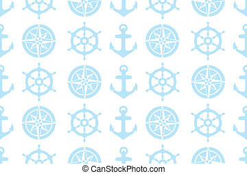nautical seamless pattern (steering wheel, compass and anchor) for fabric - eps 10 vectors
