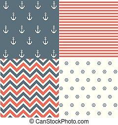 Nautical seamless pattern set