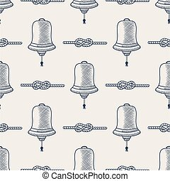 Nautical seamless. Ship bell and rope elements. Sea pattern. Navy   marine knots striped in blue  white colors, vector. Sketching, handdrawn style. Cute Sketch design