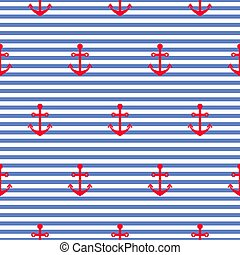 Nautical seamless vector pattern with anchors.