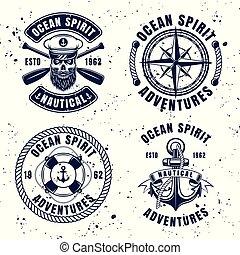 Nautical set vector vintage emblems or badges