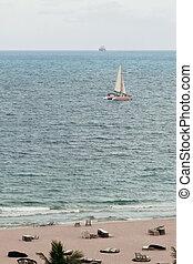 Nautical ship in the ocean, Miami,