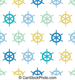 Nautical ship wheels colorful seamless pattern background