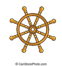 Nautical steering wheel vector icon