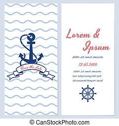 Nautical style wedding invitation