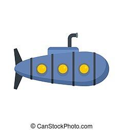 Nautical submarine icon, flat style