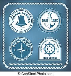 Nautical symbols - compass, anchor, ship bell