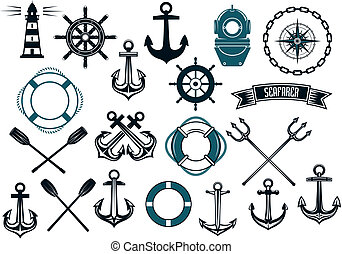 Nautical themed design elements with lighthouse, rope, anchor, paddle, life buoy, trident, steering wheel and diving helmet
