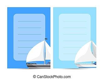 Nautical tourism card with sailboats
