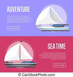 Nautical tourism flyers with sailboats
