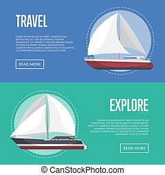 Nautical travel flyers with sailboats