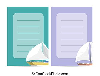 Nautical traveling card with sailboats