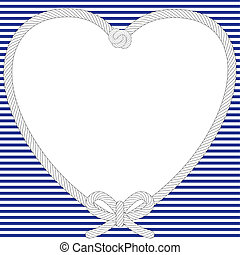 Nautical heart frame on a navy striped background