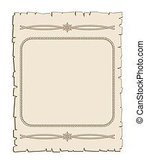 Nautical vector frame with ropes brown parchment