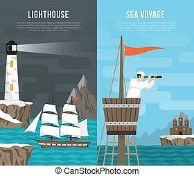 Nautical Vertical Banners Set