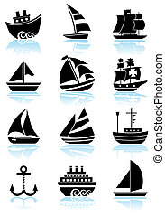 Nautical Vessel Black Icon Set - Boat themed set of icon...