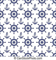 nautical wheel and anchor seamless pattern