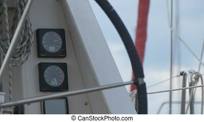 Nautical Yacht Gauges - Close-up view of speed and speedlog...