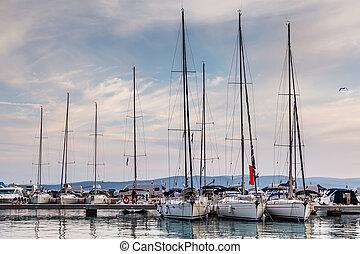Nautical Yachts in Marina of Baska Voda, Dalmatia, Croatia