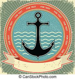 nautico, anchor.vintage, etichetta, su, vecchio, carta,...