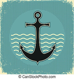 nautico, anchor.vintage, immagine, su, vecchio, carta,...