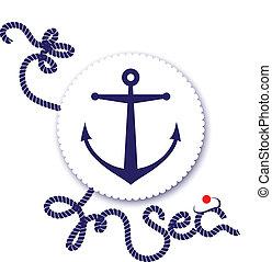 nautico, disegno, ancorare