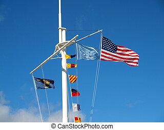 nautico, e, bandierine americane, appendere, da, uno,...