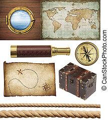 nautico, oggetti, set, isolated:, nave, finestra, o, oblò, vecchio, mappa tesoro, spyglass, compasso ottone, pirati, torace, e, corde